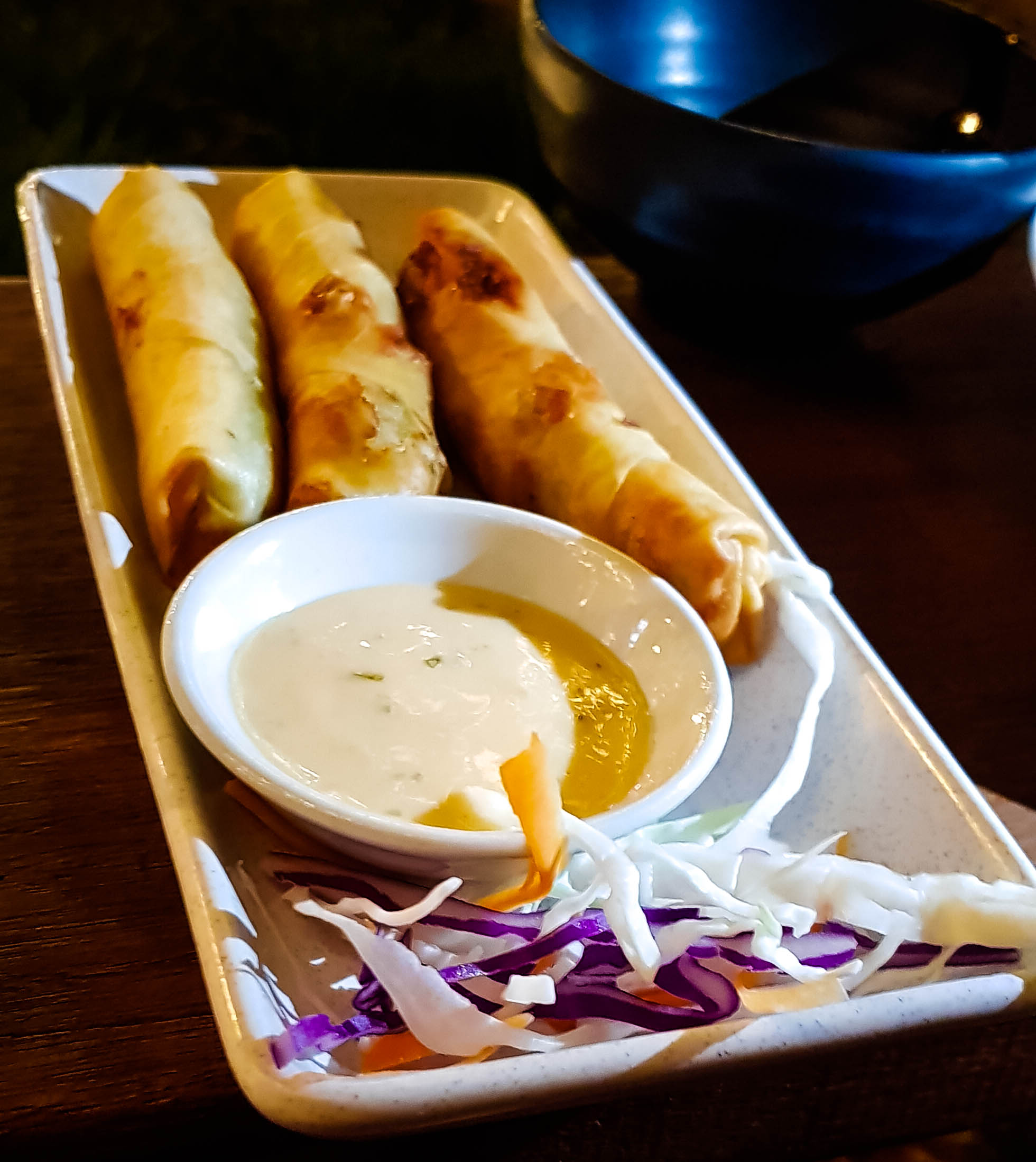 Plate of three spring rolls