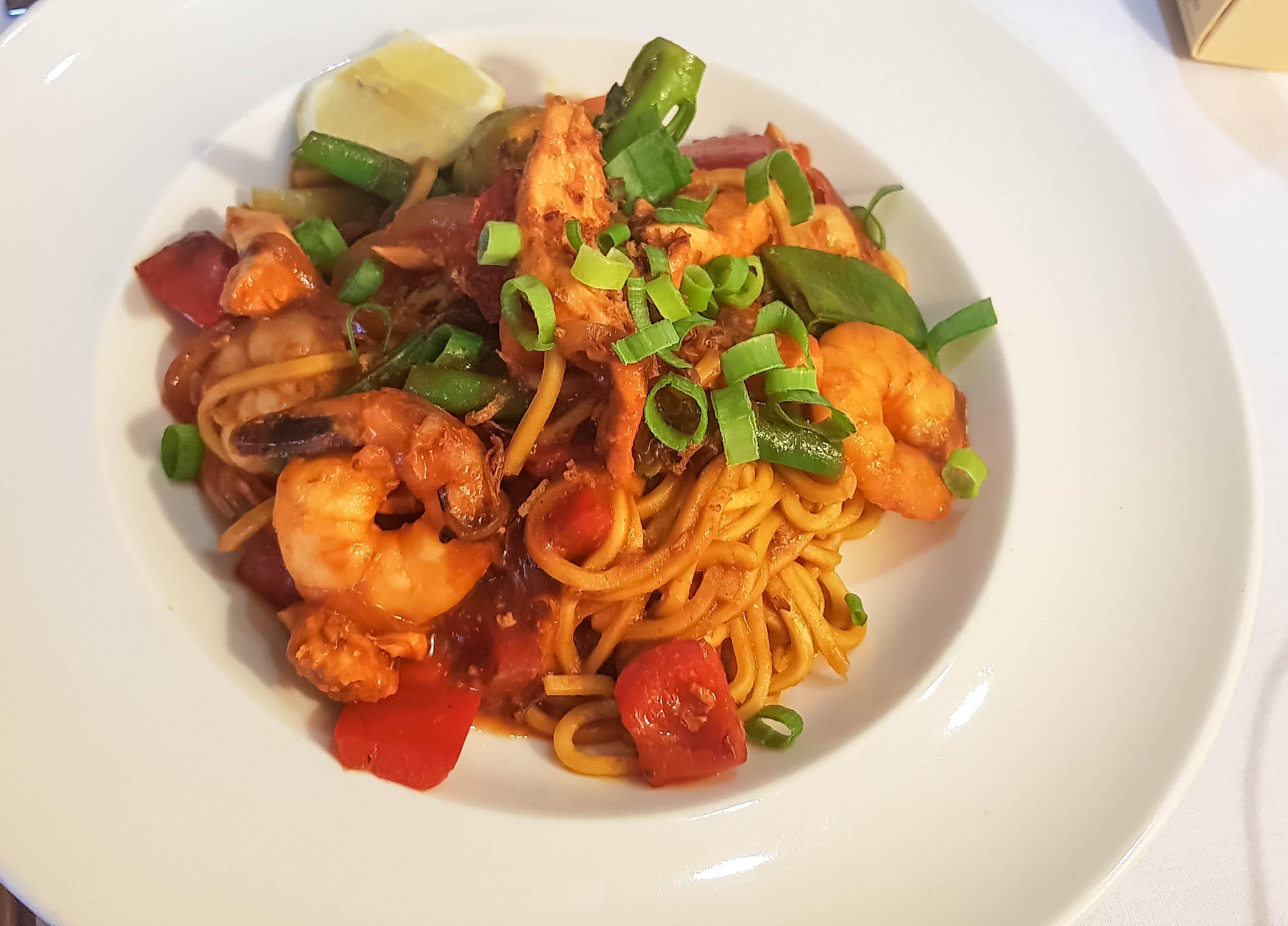 Room service - stir fry hokkien noodles with prawns
