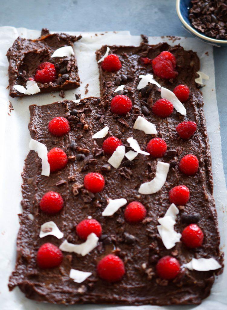 Chocolate raspberry fudge with coconut flakes