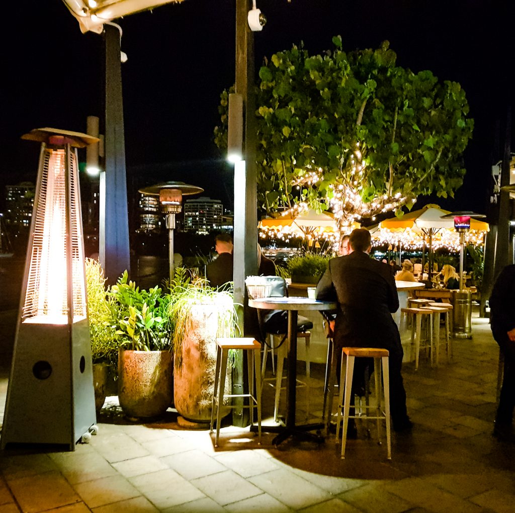 outdoor eatery area night shot