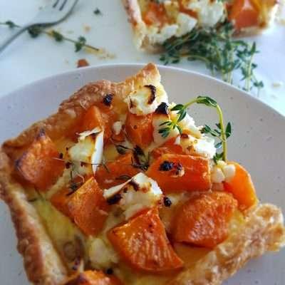 Roasted Sweet Potato, Caramelised Onion & Feta Tart